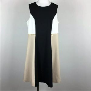 Calvin Klein Colorblock Fit n Flare Dress Size 14